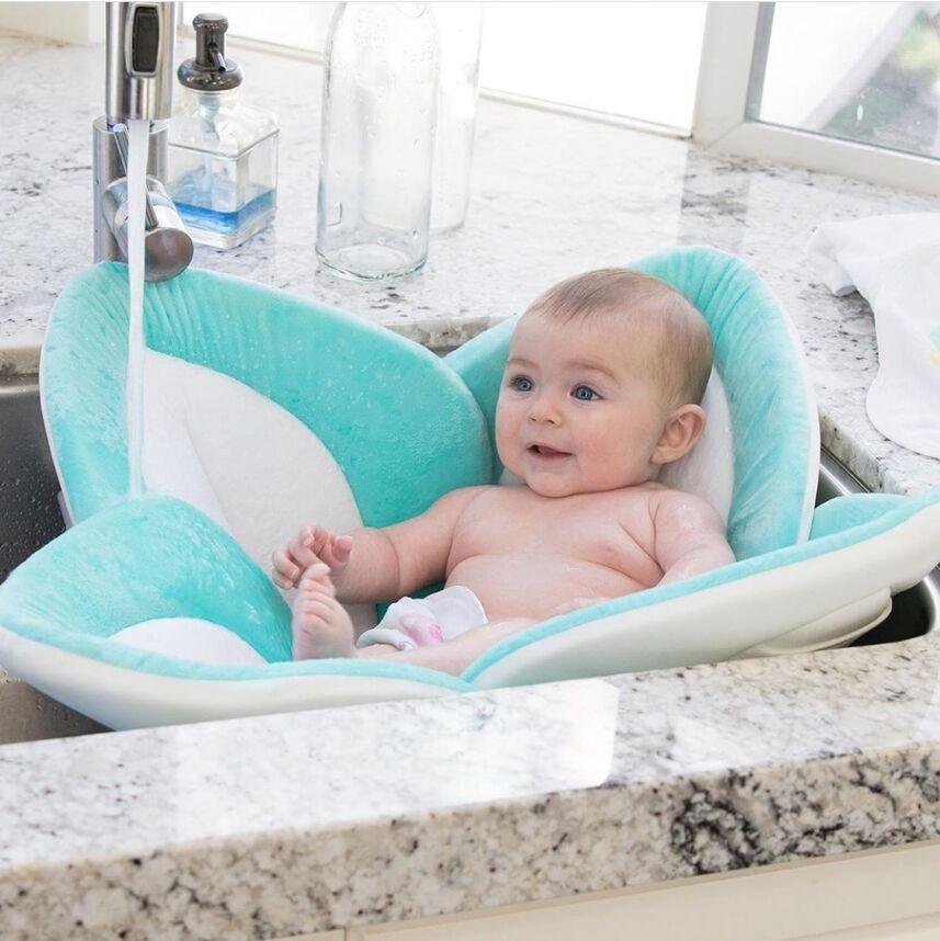 80cm Baby Blooming Bath Flower Bath Tub Newborn Foldable Four Petal Flower Shower Cushion Mat Baby Security Petal Seat Pad 0-3Y