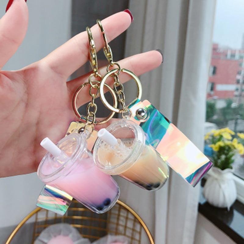 Cute Key Pendant Pearl Milk Tea Keychain Simulation Drink Small Key Chain Bag Llaveros Para Mujer New