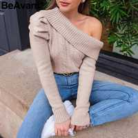 BeAvant Sexy one shoulder knitted sweater women Asymmetrical puff sleeve pullovers female jumper Ladies autumn winter sweaters