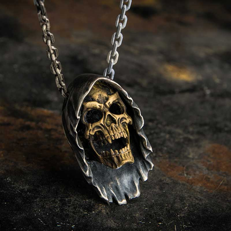 Onlysda Face Gold Skull Pendant Necklace Men's Fashion Biker Rock Punk Jewelry Antique Retro colour Chain length OSDZ035