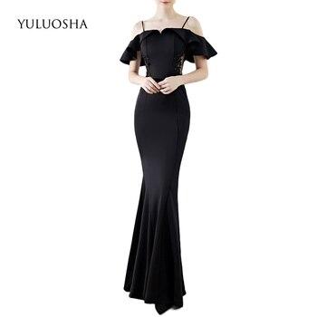 YULUOSHA Formal Dress Women Elegant A-Line Appliques Beading Lace Floor-Length Liza Gown White Evening Dress Vestido De Noche