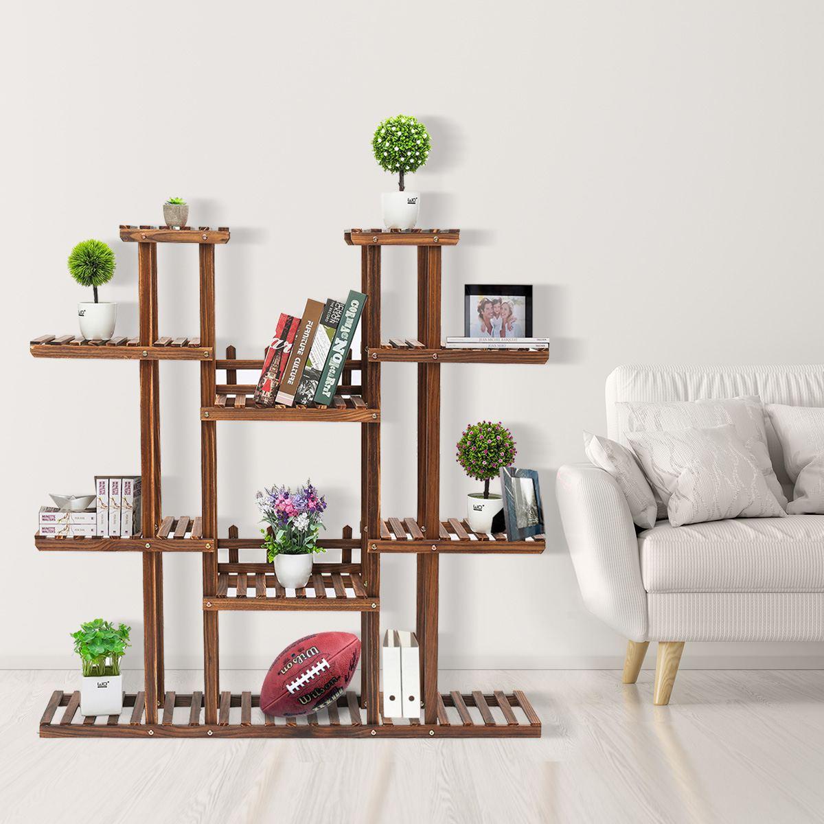 Étagère en bois massif livre Pot de fleur présentoir étagères de rangement étagère en bois organisateur intérieur extérieur Patio décoration
