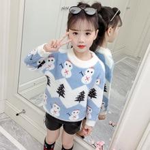 New Girls Sweaters Autumn Winter Kids Snowman Thicken Sweater Girls Pullover Tops Christmas Sweater Knitwear Children Clothes
