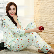 Silks pajamas Womens autumn and winter long-sleeved trousers silks home service two-piece print sleepwear S105