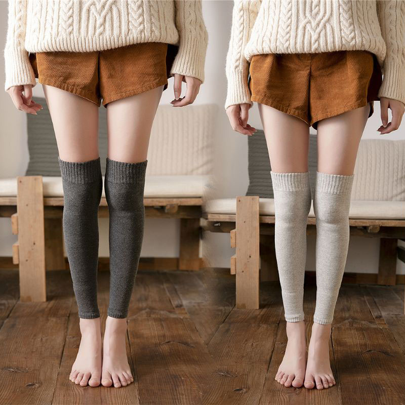 Women Winter Over Knee High Footless Socks Knit Thicken Towel Lined Leg Warmers M6CD