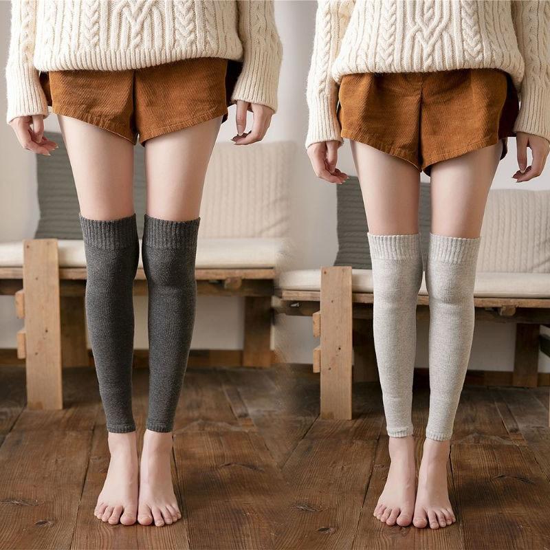 Women Winter Over Knee High Footless Socks Knit Thicken Towel Lined Leg Warmers M6CD