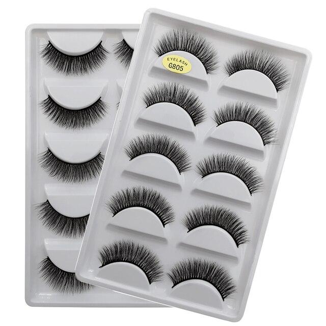 SHIDISHANGPIN 5 pairs eyelashes 3d mink lashes natural long 1 box mink eyelashes 1cm-1.5cm 3d false eyelashes full strip lashes 2