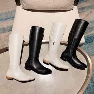 Image 4 - Krazing pote microfibra dedo apontado saltos baixos mulheres na altura do joelho botas de cano alto com zíper elegante escritório da senhora da forma manter inverno quente sapatos L90