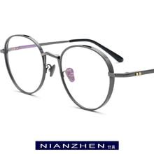 Czysta tytanowa ramka do okularów mężczyźni Retro okrągłe krótkowzroczność okulary korekcyjne optyczne ramki kobiety 2019 Vintage owalne koreańskie okulary