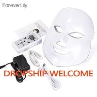Máscara facial elétrica de led fóton  rejuvenescimento de pele com led em 7 cores  anti-rugas  acne  photon  terapia de salão ferramenta