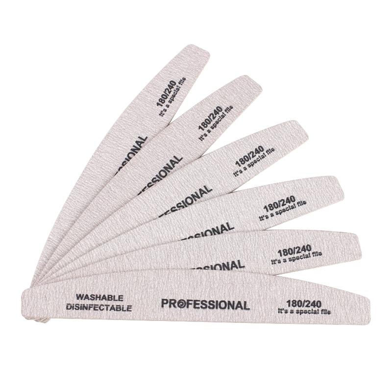 Деревянная наждачная бумага для ногтей, 10 шт., пилка для ногтей 180/240, профессиональная Наждачная доска, маникюрный буфер, серая лодка, двусто...