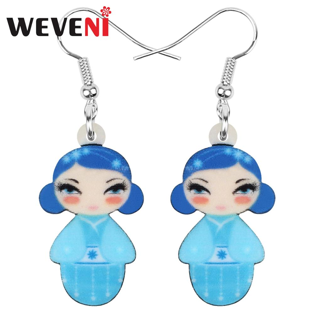 WEVENI Acrylic Anime Blue Japanese Kimono Girl Doll Earrings Drop Dangle Jewelry For Women Girls Teens Kid Decorations Gift Bulk(China)
