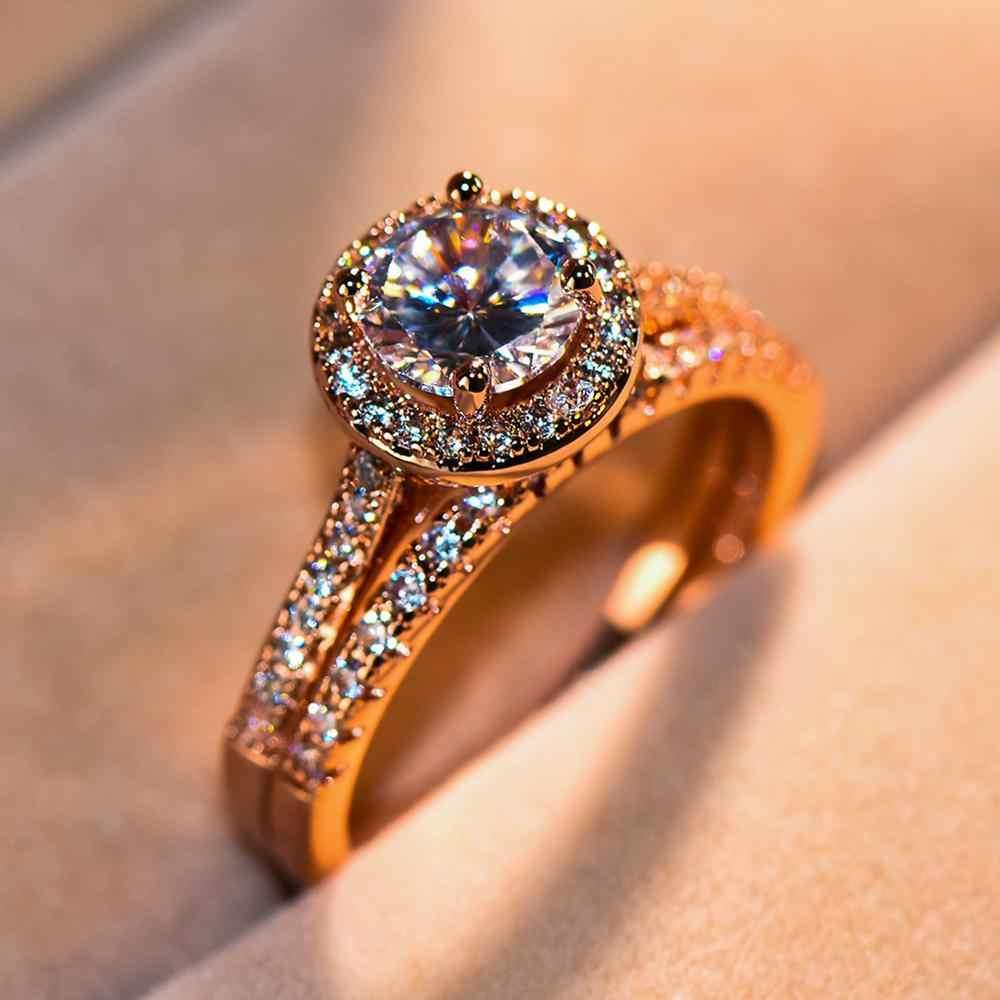 หญิงหรูหราขนาดใหญ่รอบชุดแหวนคริสตัลแฟชั่น Rose Gold แหวนหมั้นที่ไม่ซ้ำกันสไตล์งานแต่งงานแหวน