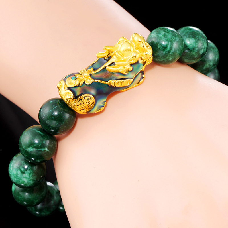 Natural Sapphire Jade Jadeite Gold Discolored Pixiu Bracelet Green Agate Bracelet Jade Bracelet