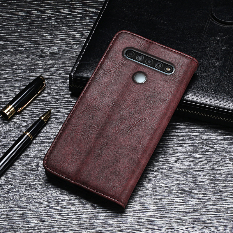 Case For LG K61 Case Cover Hight Quality Retro Flip Leather Case For LG K61 Beat Cover Business Phone Case