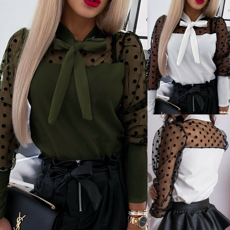 Fashion Womens Mesh Long Puff Sleeve Polka Dot Printed Bow Knot Blouse Shirts