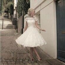 Short Lace Wedding Dress Princess Dress Thin Retro Beige Belt