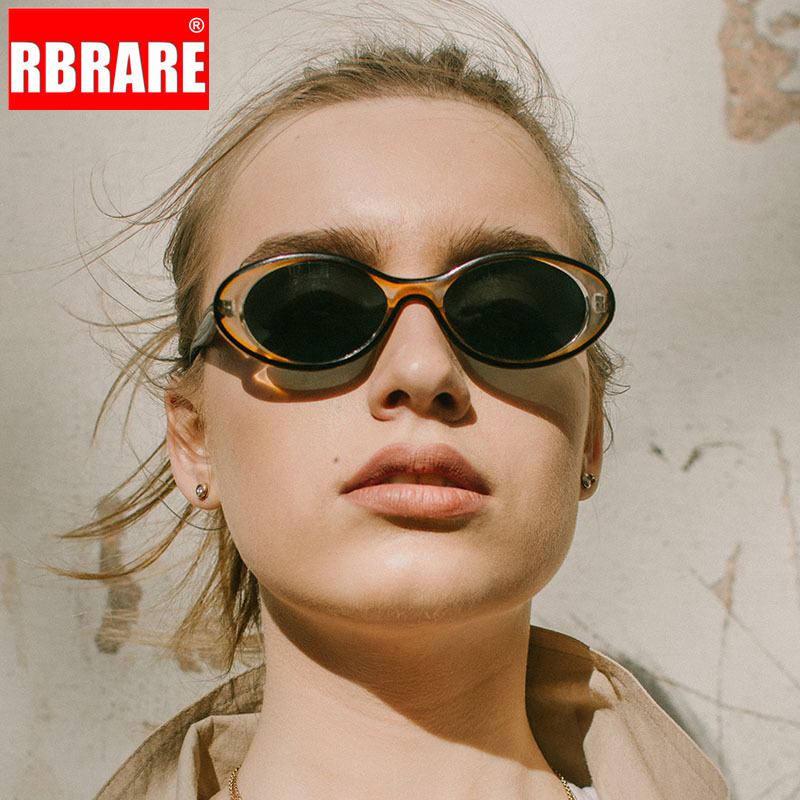 RBRARE Oval Street Beat <font><b>Sunglasses</b></font> Women Retro Large Frame Sun Glasses For Women Outdoor Driving Candy Colors Oculos De Feminino image