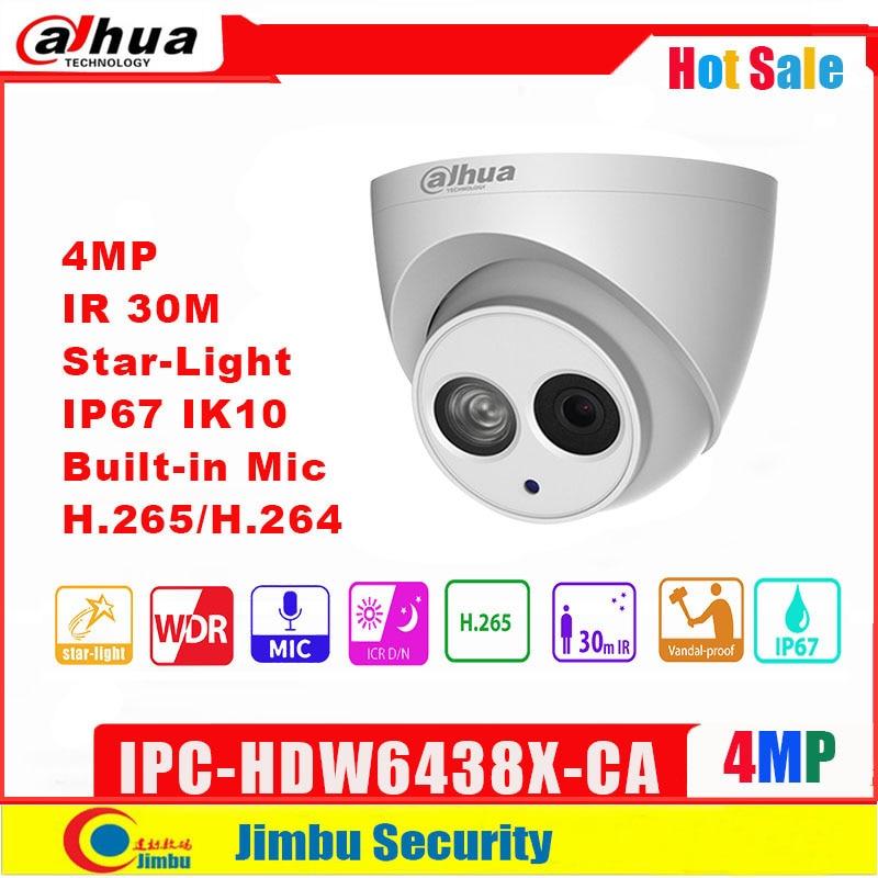 Dahua 4MP IP Camera  IPC-HDW6438X-CA  Starlight   H.265/ H.264 Built In Mic IR30m Multi-language Network CCTV Camera  Onvif IP67