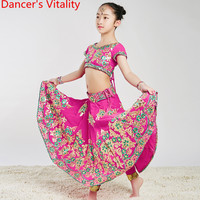 Girls Indian Hot Pink Embroidered Sequin Top Skirt Veil Pants Oriental Belly Dance Wear Performance Costume Luxirious Stage Suit