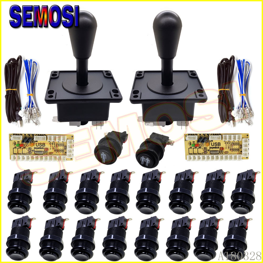 Arcade Happ Joystick Button DIY Kit for PC Zero Delay USB Encoder 8 Way Stick Push Buttons Arcade Game Control Board Replace Kit