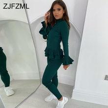 Solidne falbany z długim rękawem Slim Fit prążkowane bluzki i elastyczne elastyczne dopasowane spodnie Office Lady Sweatsuits elegancki dwuczęściowy strój