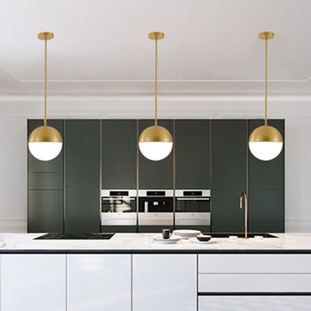 Brass Ball Pendant Light Copper Bedside Pendant Lamp Glass Ball Dining Room Suspension Loft Lamp Kitchen Island Lamp