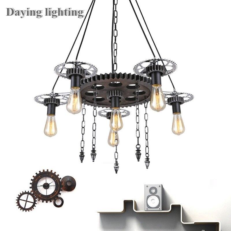 Лофт американская люстра промышленный ветровой Ретро светильник 6 головок светодиодный E27 ST64 светильник для помещений подвесной светильни