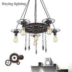 Loft amerykański żyrandol wiatr przemysłowy światło retro 6 głowice LED E27 ST64 żarówka kryty światła wiszące oprawa oświetleniowa Luster