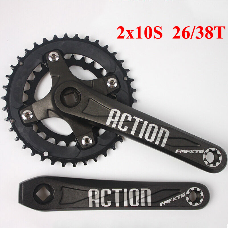 Bicycle Crankset 10 Speed 104BCD 26//38T Chainset Double Chainring 170mm Crank BB