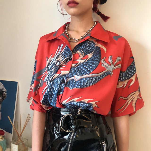 2021 Summer Spring Women Blouses BF style oversized shirts Harajuku Tops Dragon Printing Short Sleeve Shirts Female Streetwear 1