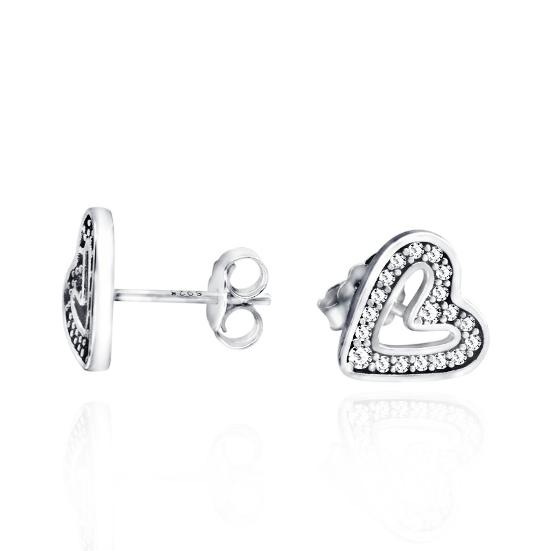 925 Sterling Sparkling Zircon Love Stud Heart Earrings For Women Anniversary Sterling Silver Fashion Jewelry Gift