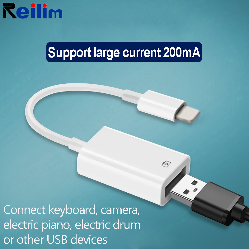OTG USB vers caméra adaptateur pour foudre USB câble écouteurs convertisseur électrique piano MIDI clavier pour iphone 7 8 ios 13 adaptateur