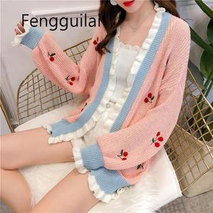 FENGGUILAI damska jesień cienki sweter rozpinane Plus rozmiar słodka wiśnia haft Kawaii patchworkowy sweter odzież z dzianiny kobieta