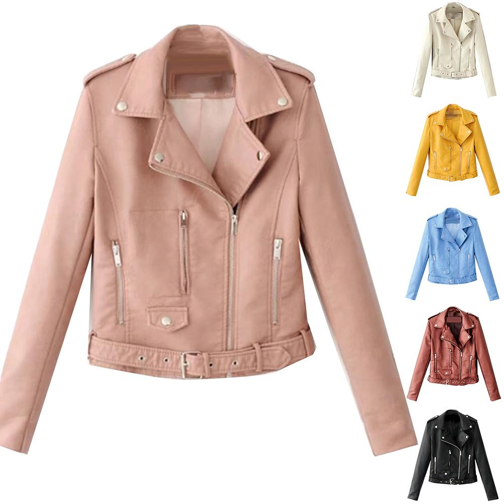 Fashion Punk Women Coat Jacket Leather Long Sleeve Lapel Zipper Button Motorcycle Jacket Short Coat For Women's Clothings