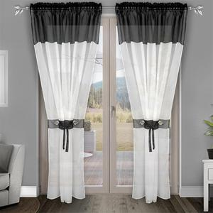 Flying Tulle Fabric with White Voile and Color Voile Curtain for Bedroom and Big Window with Plastic Ring and Same Color Voile f