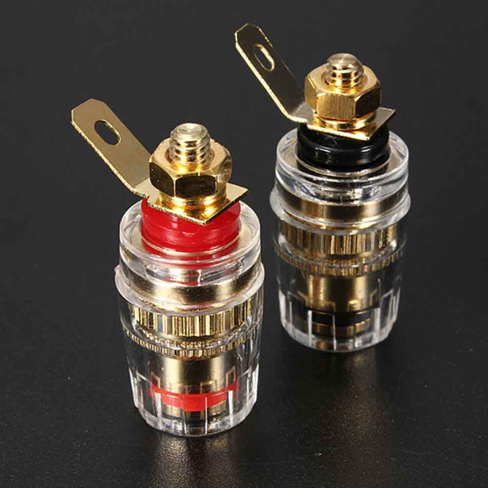 2pcs 4mm Binding Post Speaker Terminal Banana Plug Socket Jack Connector Professional Gold Plated Speaker Jack Adapter Socket