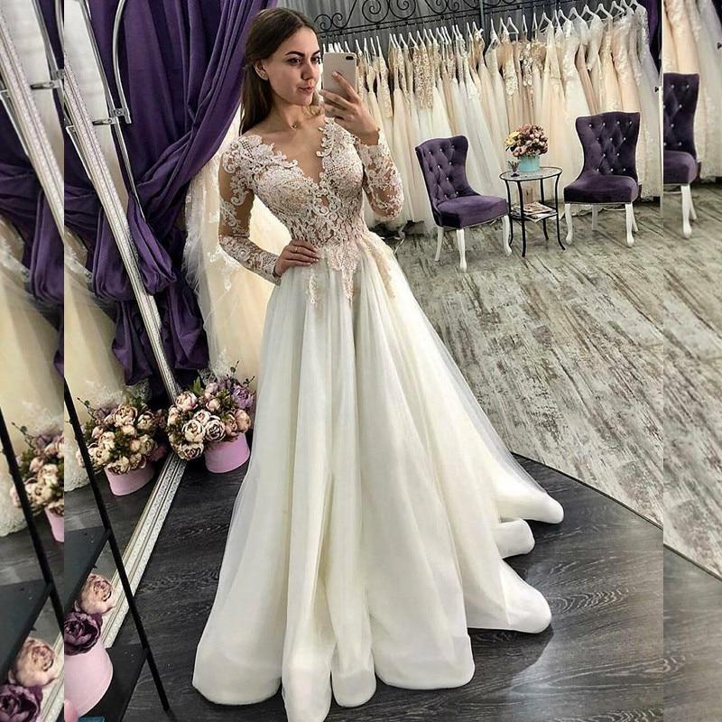 Vintage Bride Dress A-line Wedding Dresses With Illusion Back Lace Appliques Long Sleeves Bridal Dress Vestido De Noche