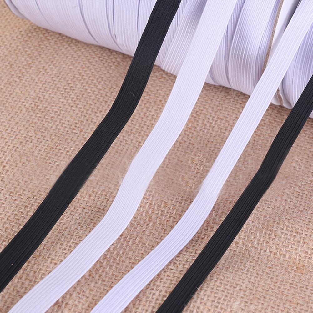 100 Yards 0.8cm/1.0cm White Black High Elastic Band Flat Ribbon Band Rubber Band Sewing Band Elastic Rope Elastic Stretch W U3H7