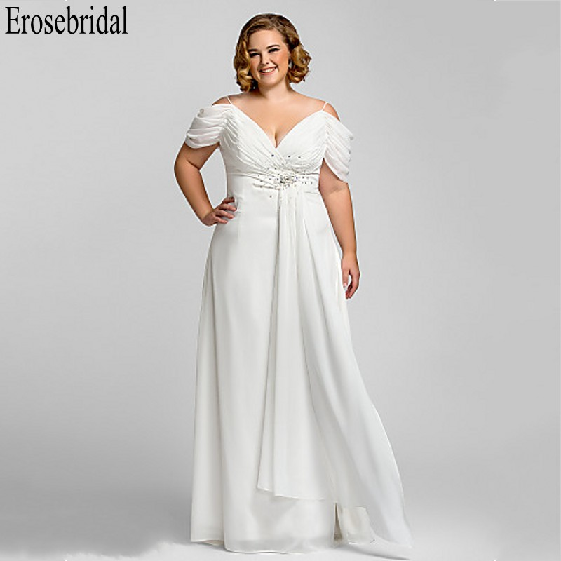 Erosebridal Plus Size Women Long 2019 White Formal Dresses Evening Gowns For Women Long Dress Evening Elegant