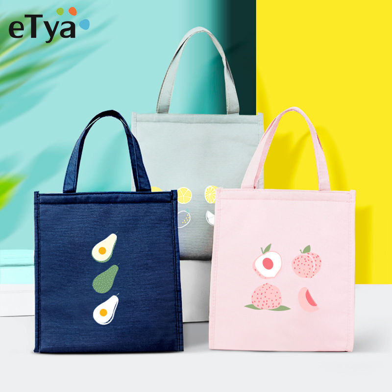 ETya Insulated Lunch Bag Thermal Tote Bags Fresh Cooler Picnic Food Lunch Box Bag For Kids Women Girls Ladies Men Children