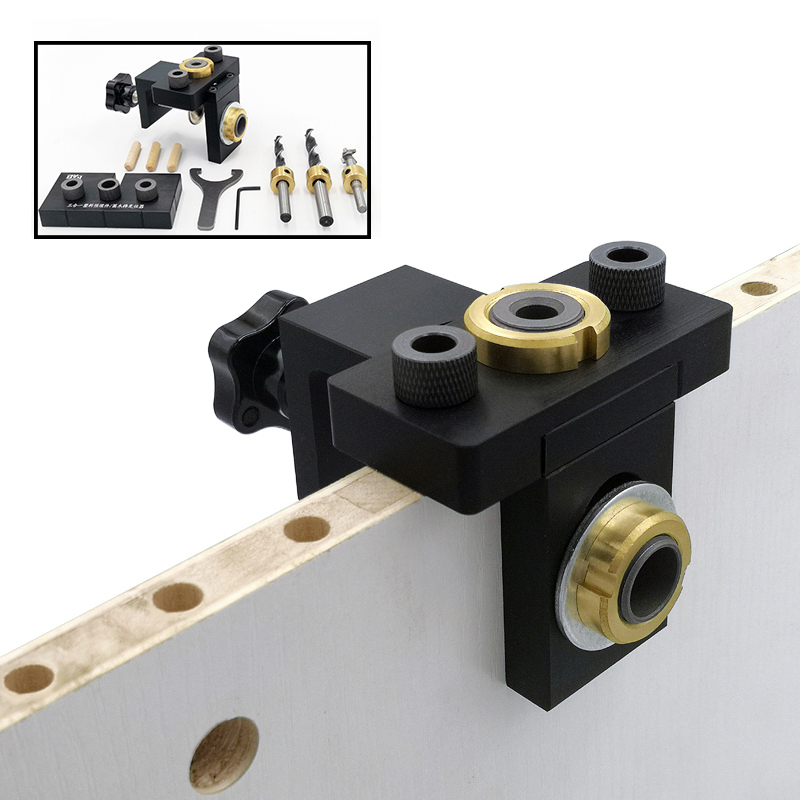 Doweling Jig Pocket Hole Jig Kit Wood Vertical Drilling Detachable Locator For Furniture Connecting Hole Puncher Carpentry DIY