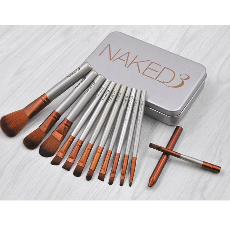 New Cosmetics 12Pcs Nake Brushes Cosmetics Tools NK3 Rose Gold Face Makeup Eyeshadow Eyeliner Lip Brush Set Tool With Metal Box