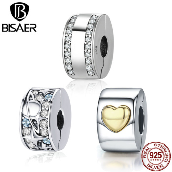 BISAER Authentic 925 Sterling Silver Stopper Clip Heart Star Charm Clear CZ Beads fit Bracelet Jewelry Making - discount item  30% OFF Fine Jewelry