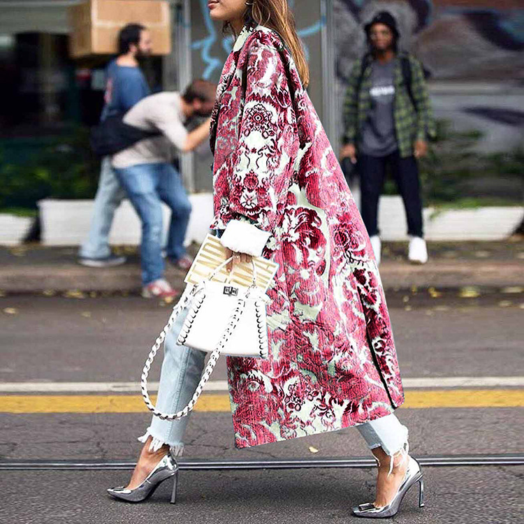 Elegant Print Women Long Winter Wool Blend Coat Loose Wide-waisted Single Breasted Coat And Jacket Plus Size Outerwear
