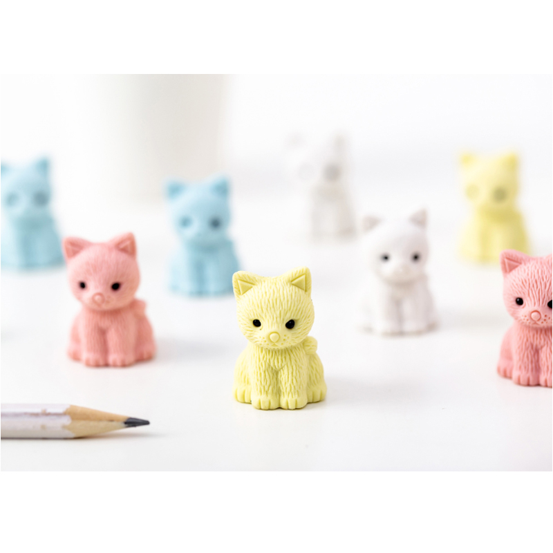 5pcs/lot Kawaii Cat And Cat Claw Eraser Rubber Students Stationery Kids Gifts School Office Correction Supplies