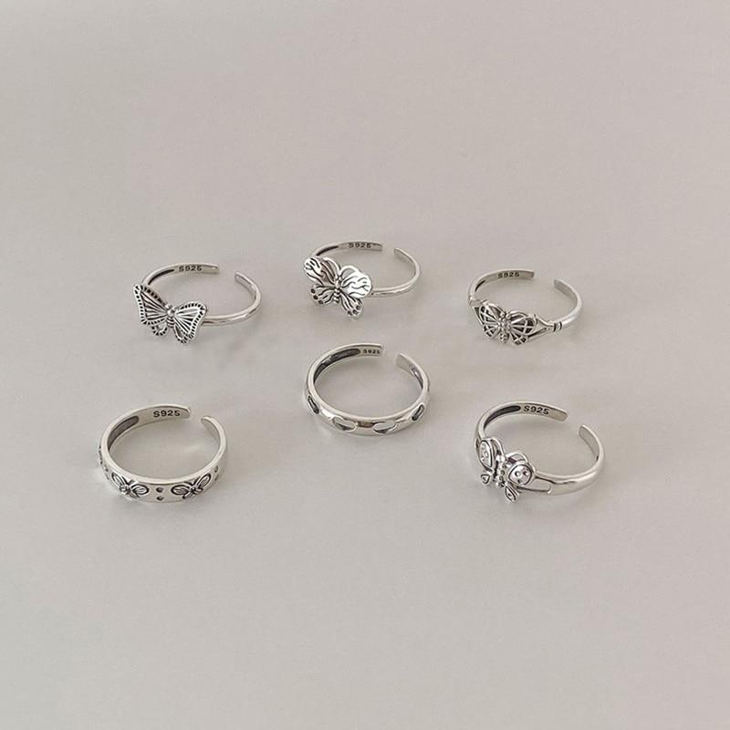 XIYANIKE 925 argent Sterling corée ouvert amour coeur papillon creux anneaux femme tempérament mode rétro à la main tendance cadeaux 2
