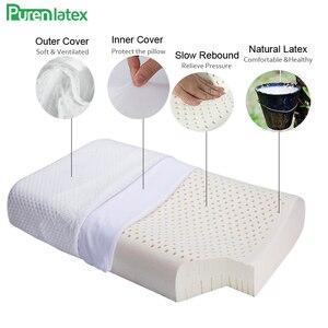 Image 4 - Purenlatex 60x40 tailândia puro látex natural travesseiro de cuidados de saúde pescoço para a coluna do pescoço travesseiro de látex protetor travesseiro ortopédico