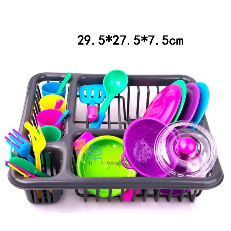 28Pcs Kids Cutlery Role Play Toy Set  Kitchen Utensil Accessories Pots Pans