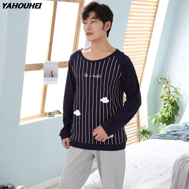 Casual Striped Cotton Pajamas Sets For Men 2018 Autumn Winter Long Sleeve Pyjamas Male Lounge Comfortable Homewear Home Clothes
